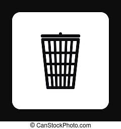 Trash basket icon, simple style