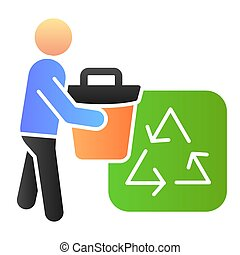 Trash bin and recycle sign flat icon. Environment color icons in trendy flat style. Garbage recycling gradient style design, designed for web and app. Eps 10.