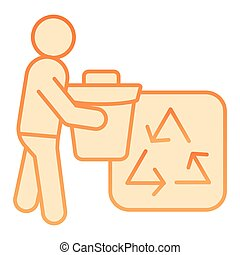 Trash bin and recycle sign flat icon. Environment orange icons in trendy flat style. Garbage recycling gradient style design, designed for web and app. Eps 10.