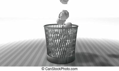 Trash bin animation with matte.