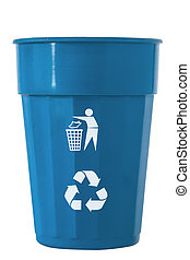 Trash Bin blue color with recycle logo