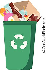 Trash bin full of garbage. can with different waste. Plastic, paper, glass and other household rubbish