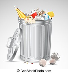 illustration of trash bin full of garbage on abstract background
