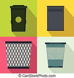 Trash bin garbage banners set, flat style