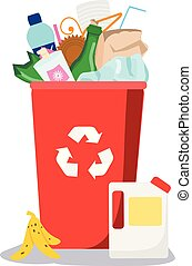 Trash bin. Garbage can with different waste inside. Plastic, paper, glass and other household rubbish