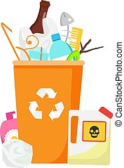 Trash bin. Garbage can with waste inside. Plastic, glass, hazardous and other household rubbish