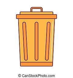 Trash bin icon, cartoon style