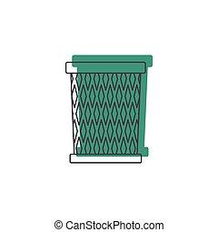Trash bin icon, doodle style