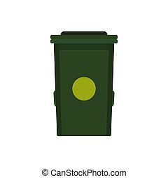 Trash bin icon, flat style