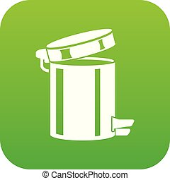 Trash bin icon green vector isolated on white background
