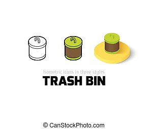 Trash bin icon in different style