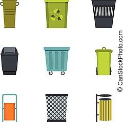 Trash bin icon set, flat style