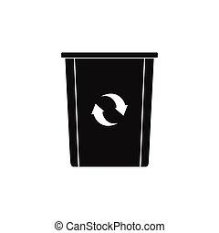 Trash bin icon, silhouette style
