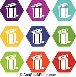 Trash bin icons set 9 vector - Trash bin icons 9 set coloful...