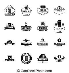 Trash bin logo icons set, simple style - Trash bin logo...