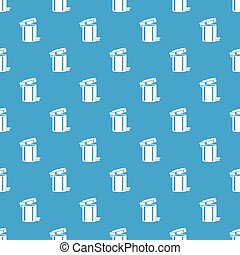 Trash bin pattern vector seamless blue repeat for any use