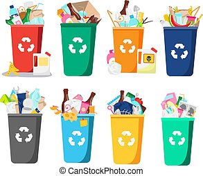 trash bin set. containers full of all types garbage and waste. Bottles, plastic, glass and other household rubbish. collection of Isolated vector clip art