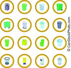 Trash bin set icon circle