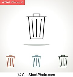 trash bin vector line icon isolated on white background