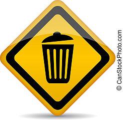 Trash bin vector sign