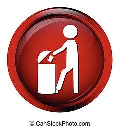 Trash bin with man icon
