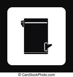 Trash bin with tilting lid icon, simple style - Trash bin...