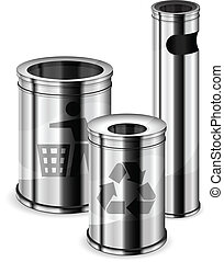 Different sizes metal trash bins with recycle signs on white background, vector illustration