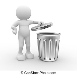3d people - human character , person standing next to a trash can . 3d render