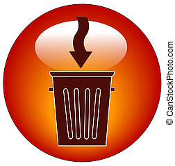 trash can button or icon with arrow - illustration