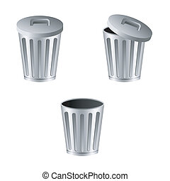 Trash can. Vector illustration isolated on white background.