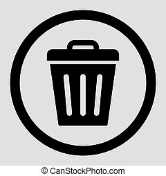 Trash Can flat black color rounded vector icon