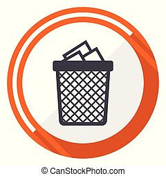 Trash can flat design orange round vector icon in eps 10