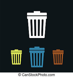 Trash can flat icons