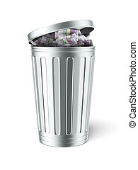 Trash can full of euro bills