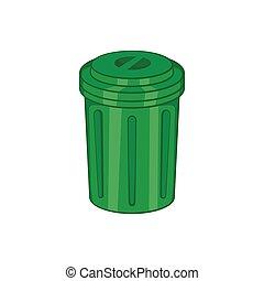 Trash can icon, cartoon style