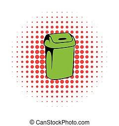Trash can icon, comics style