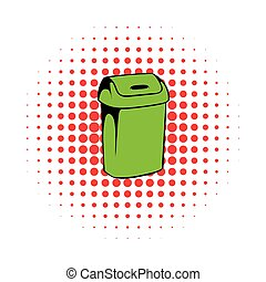 Trash can icon, comics style