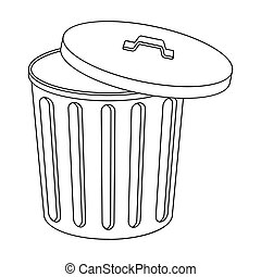 Trash can icon in outline style isolated on white background. Trash and garbage symbol stock vector illustration.