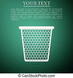 Trash can icon isolated on green background. Flat design. Vector Illustration