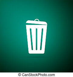 Trash can icon isolated on green background. Garbage bin sign. Flat design. Vector Illustration