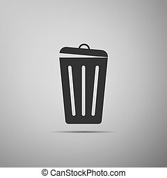 Trash can icon isolated on grey background. Garbage bin sign. Flat design. Vector Illustration