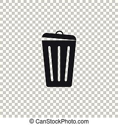Trash can icon isolated on transparent background. Garbage bin sign. Flat design. Vector Illustration