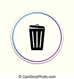 Trash can icon isolated on white background. Garbage bin sign. Circle white button. Vector Illustration