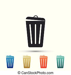 Trash can icon isolated on white background. Garbage bin sign. Set elements in colored icons. Flat design. Vector Illustration