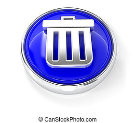 Trash can icon on glossy blue round button