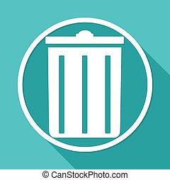 trash can icon on white circle with a long shadow