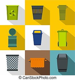 Trash can icon set, flat style