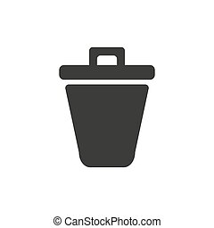 Trash can icon thin line for web and mobile, modern minimalistic flat design. Vector dark grey icon on light grey background.
