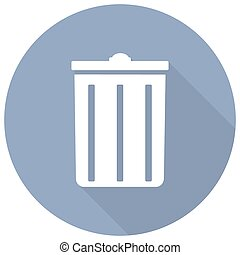 trash can icon with a long shadow