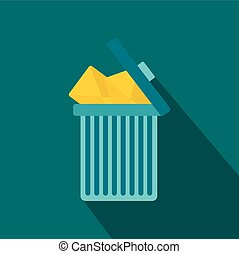 Trash can icon with envelopes icon, flat style